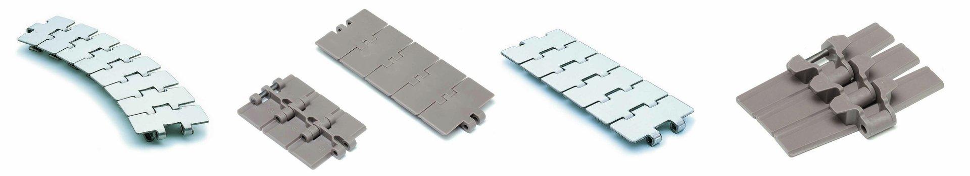 Scharnierbandketten, Modular Belts, Kurvenführung